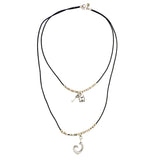 Lilly's Allure Black Leather Silver Double Heart Necklace N23 Wear w Uno de 50