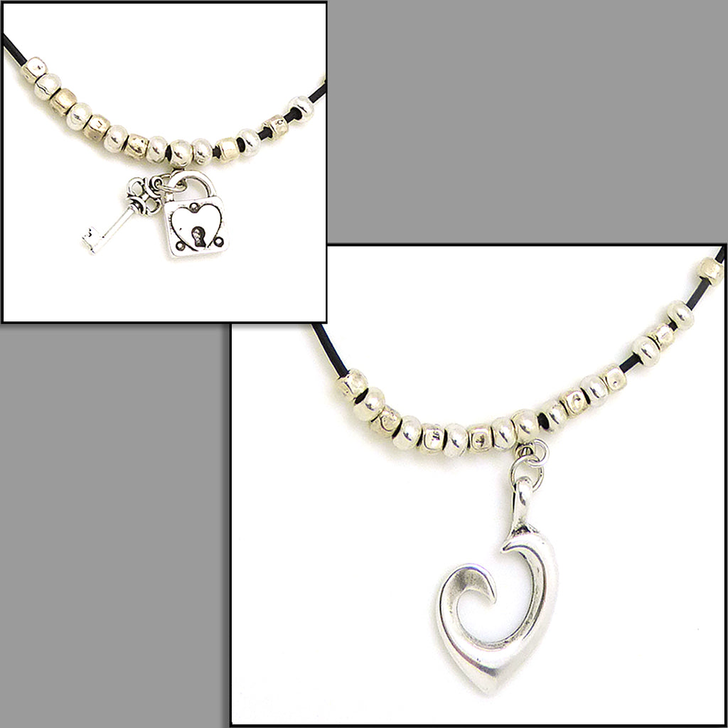 Lilly's Allure Black Leather Silver Double Heart Necklace N23 Wear w Uno de 50 - ILoveThatGift