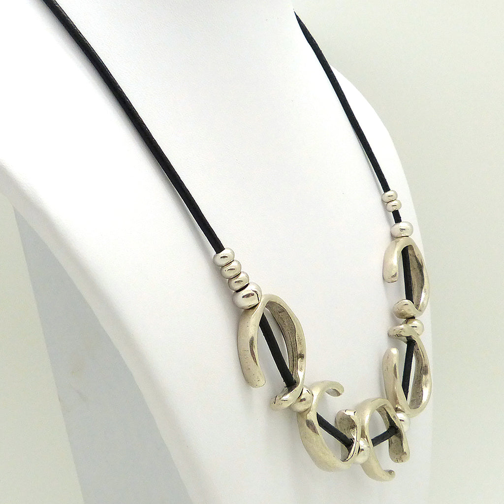 Lilly's Allure Black Leather Silver Open Ring Necklace N24 Wear with Uno de 50 - ILoveThatGift