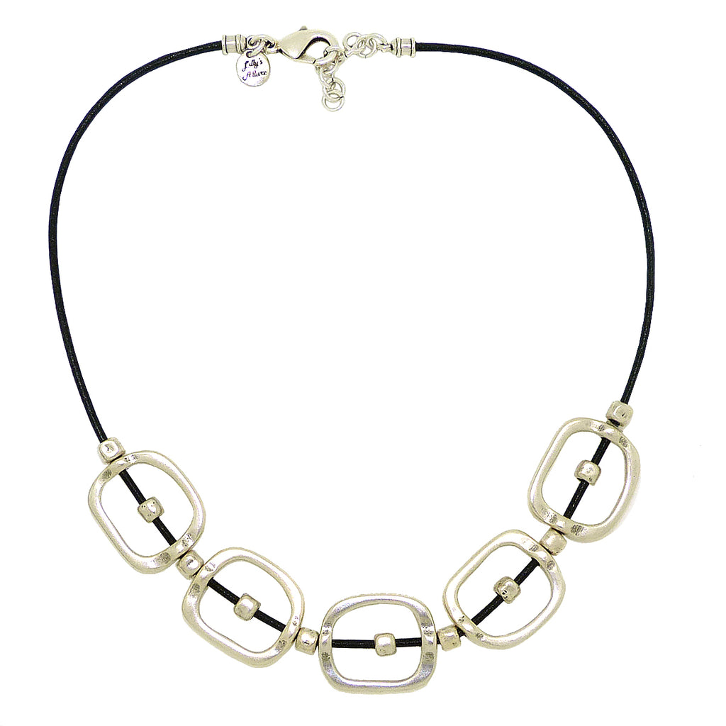 Lilly's Allure Black Leather Cord Silver Squares Beads Necklace N25 Wear with Uno de 50 - ILoveThatGift