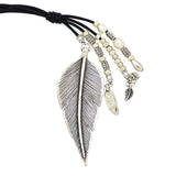 Lilly's Allure Black Leather Silver Pearl Feather Necklace N29 Wear w Uno de 50