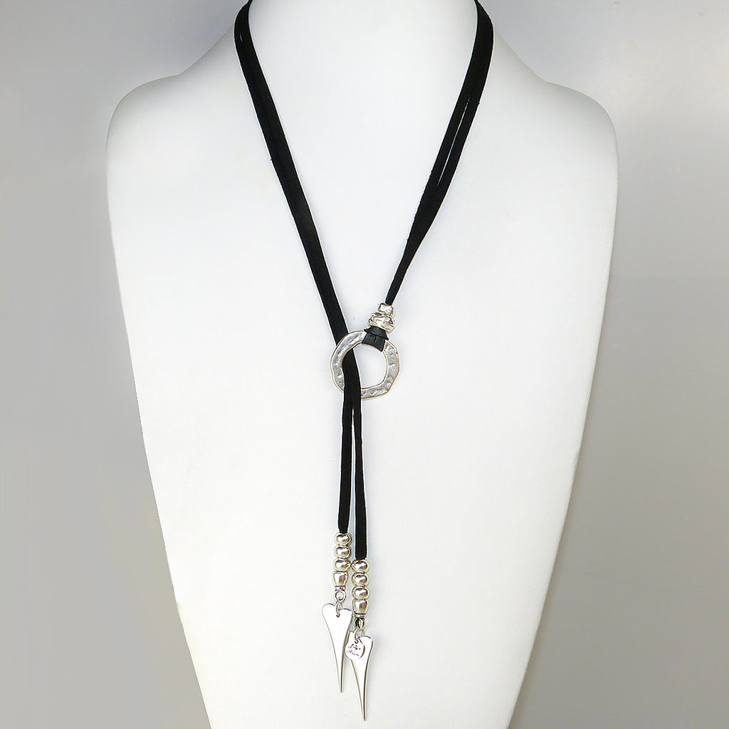 Lilly's Allure Deerskin Black Leather Heart Choker Lariat Silver Beads Necklace N39 Wear with Uno de 50 - ILoveThatGift