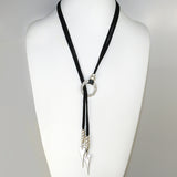 Lilly's Allure Deerskin Black Leather Heart Choker Lariat Silver Beads Necklace N39 Wear with Uno de 50