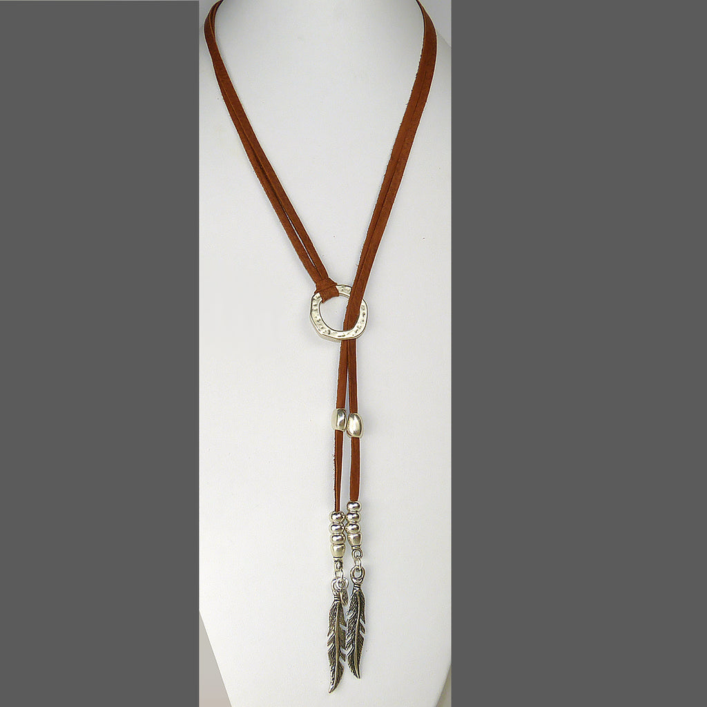 Lilly's Allure Deerskin Natural Leather Feather Choker Lariat Silver Beads Necklace N40 Wear with Uno de 50