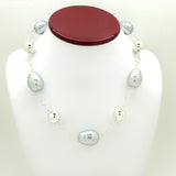 Simon Sebbag Silver Gray Pearlized Baroque Necklace Sterling Silver 925 Ball Beads N334BGSP - ILoveThatGift