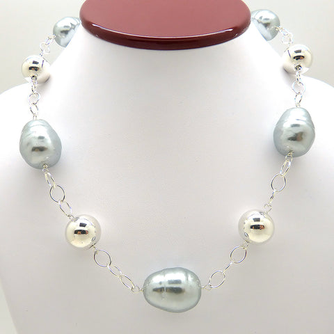 Simon Sebbag Silver Gray Pearlized Baroque Necklace Sterling Silver 925 Ball Beads N334BGSP
