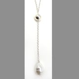 Simon Sebbag Sterling Silver White Pearl Pendant Necklace on Long SS Chain N431BSP