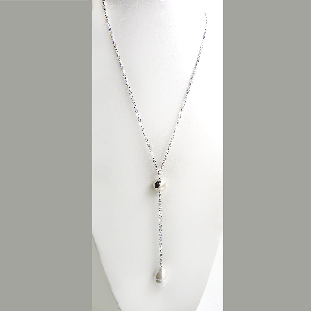 Simon Sebbag Sterling Silver White Pearl Pendant Necklace on Long SS Chain N431BSP - ILoveThatGift