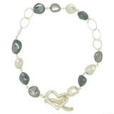 Simon Sebbag Silver Heart Linked White Gray Pearl Baroque Necklace N464WGSN