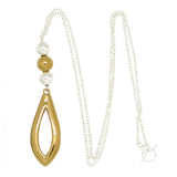 "Simon Sebbag Gold Sterling Silver Two Tone Pendant Necklace on 36"" SS Chain N477V"