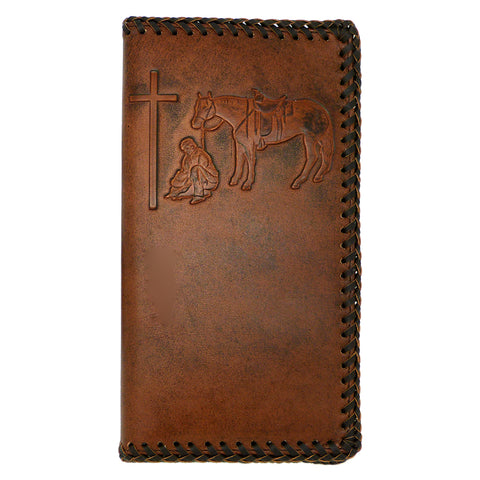 Nocona Western Mens Wallet Checkbook Cover Rodeo Praying Cowboy Leather Brown Laced