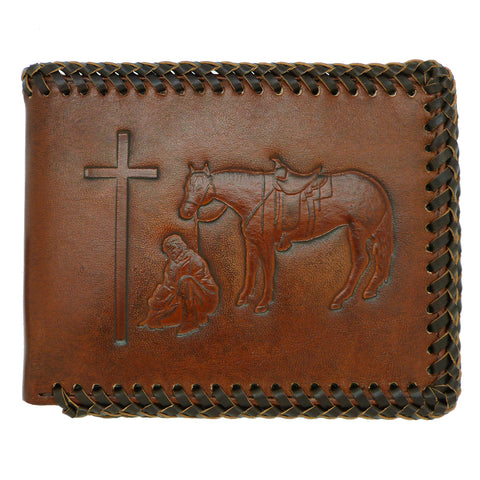Nocona Western Mens Wallet Bi-Fold Pass Case Praying Cowboy Leather Brown Laced N5413908
