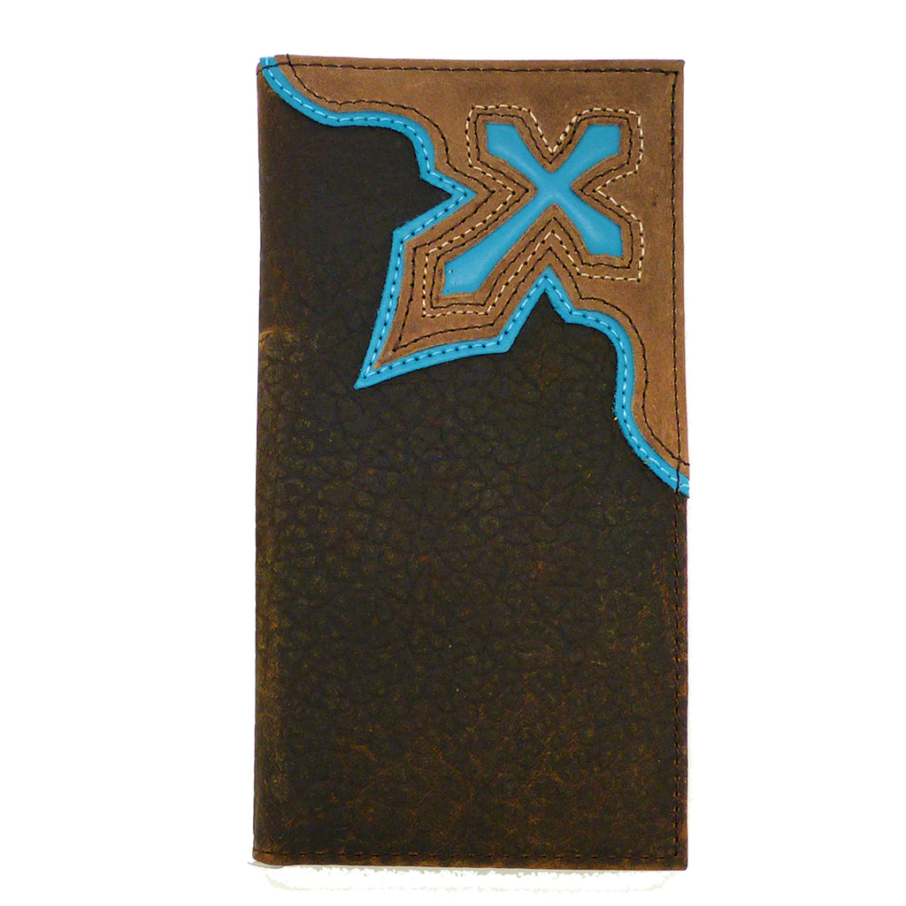 Nocona Western Mens Wallet Checkbook Cover Rodeo Bold Blue Cross - ILoveThatGift