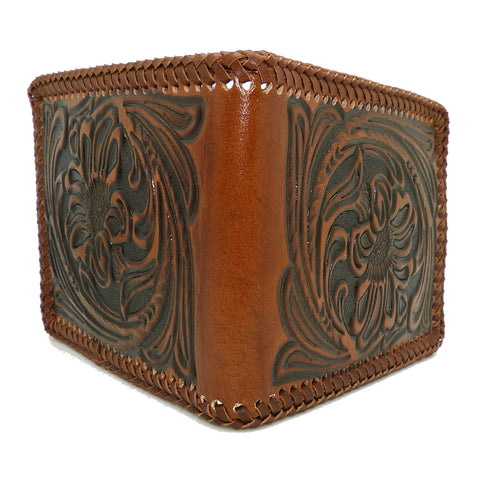 Nocona Mens Western Wallet Bi-fold Tooled and Laced Brown Leather N5421008