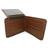 Nocona Mens Western Wallet Bi-fold Tooled and Laced Brown Leather N5421008 - ILoveThatGift