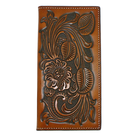 Nocona Western Mens Wallet Checkbook Cover PRO Rodeo Leaf Heavy Tooled Leather