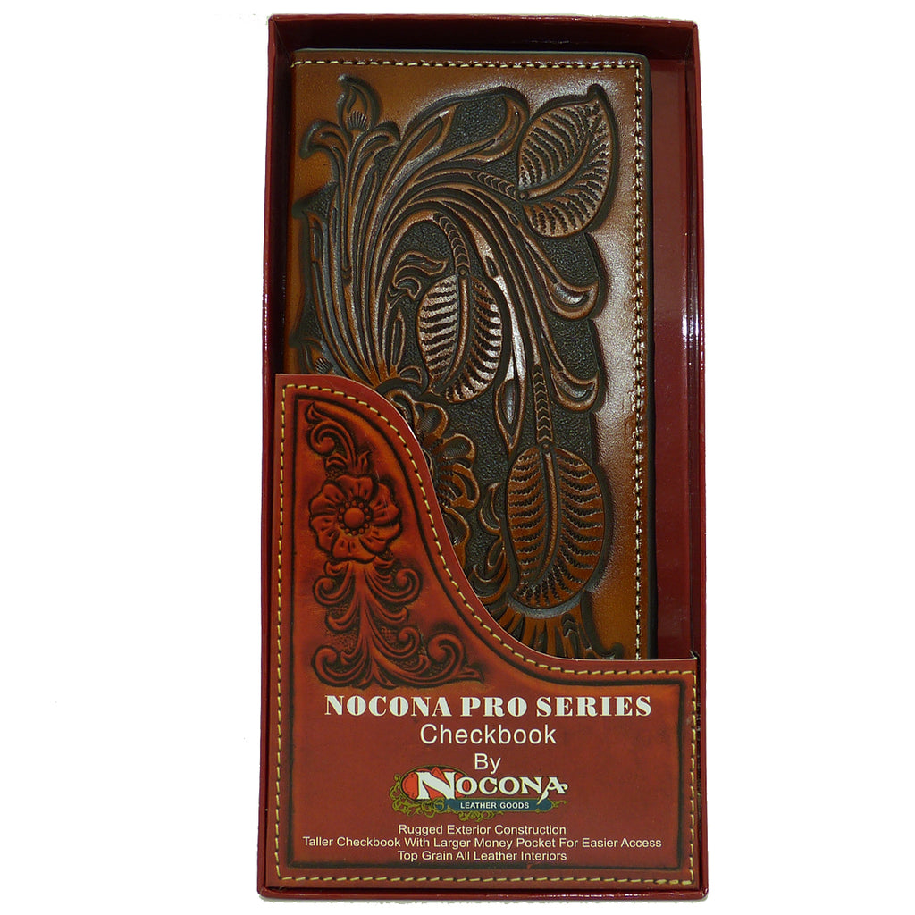 Nocona Western Mens Wallet Checkbook Cover PRO Rodeo Leaf Heavy Tooled Leather - ILoveThatGift