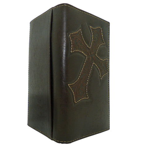 Nocona Western Leather Mens Wallet Checkbook Cover Rodeo Dark Brown w/ Diagonal Cross N5487044