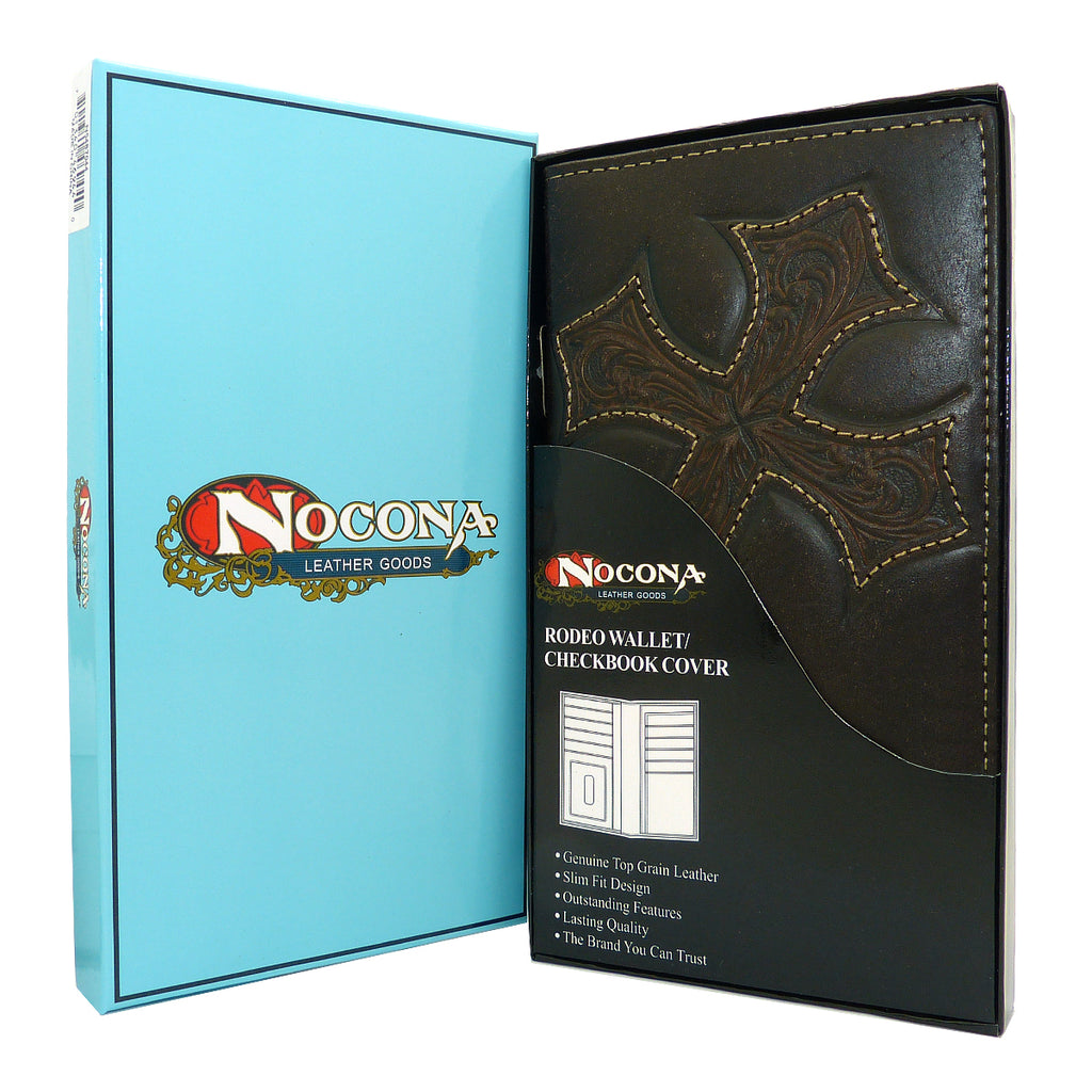 Nocona Western Leather Mens Wallet Checkbook Cover Rodeo Dark Brown w/ Diagonal Cross N5487044 - ILoveThatGift