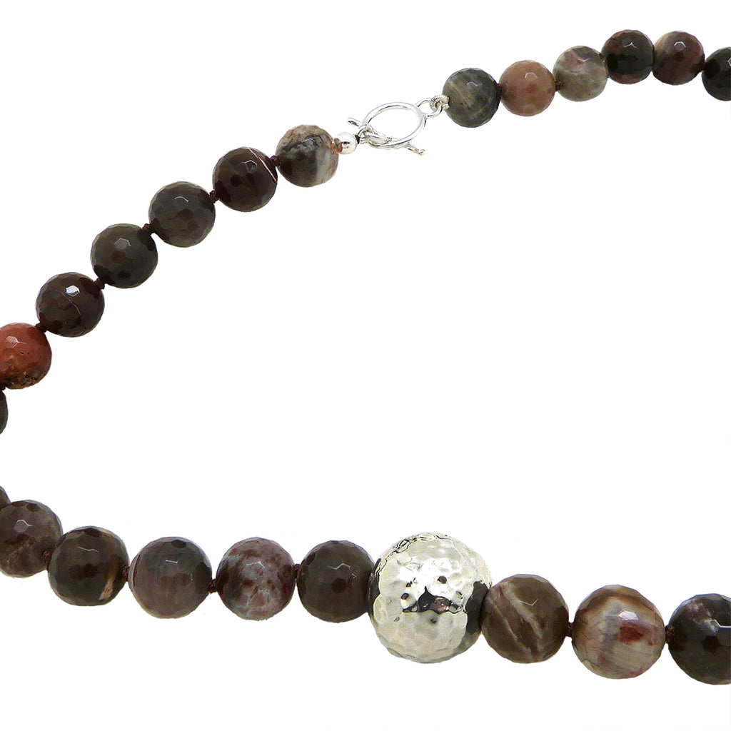 Simon Sebbag Sterling Silver Petrified Wood Beads Toggle Clasp Necklace NB100FPW24