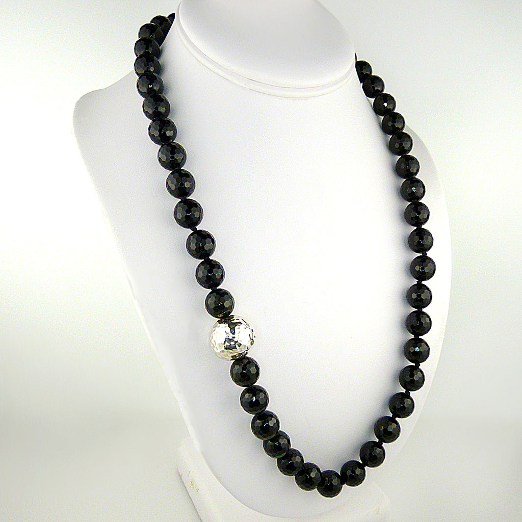 Simon Sebbag Sterling Silver Faceted Black Onyx Beads Toggle Clasp Necklace NB100FBO24 - ILoveThatGift