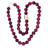 Simon Sebbag Sterling Silver Pink Tigers Eye Cyclone Beads Toggle Necklace 24 inch NB133PTE