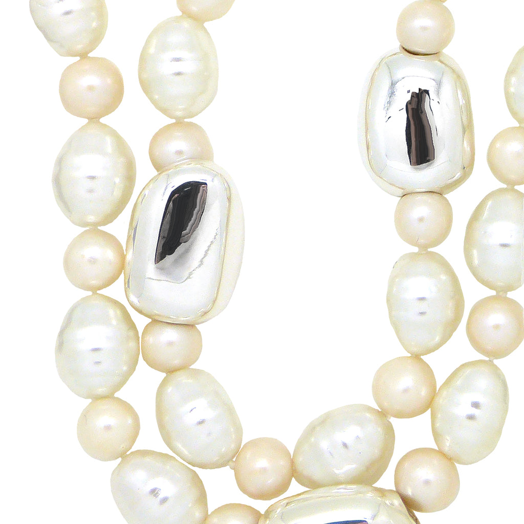 Simon Sebbag 2 Strand Shell & Freshwater Pearl Sterling Silver Necklace NB224SSPP2