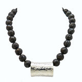 Simon Sebbag Sterling Gunmetal Plated Lava Necklace with Hammered Silver 925 Bead SSD NB606 - ILoveThatGift