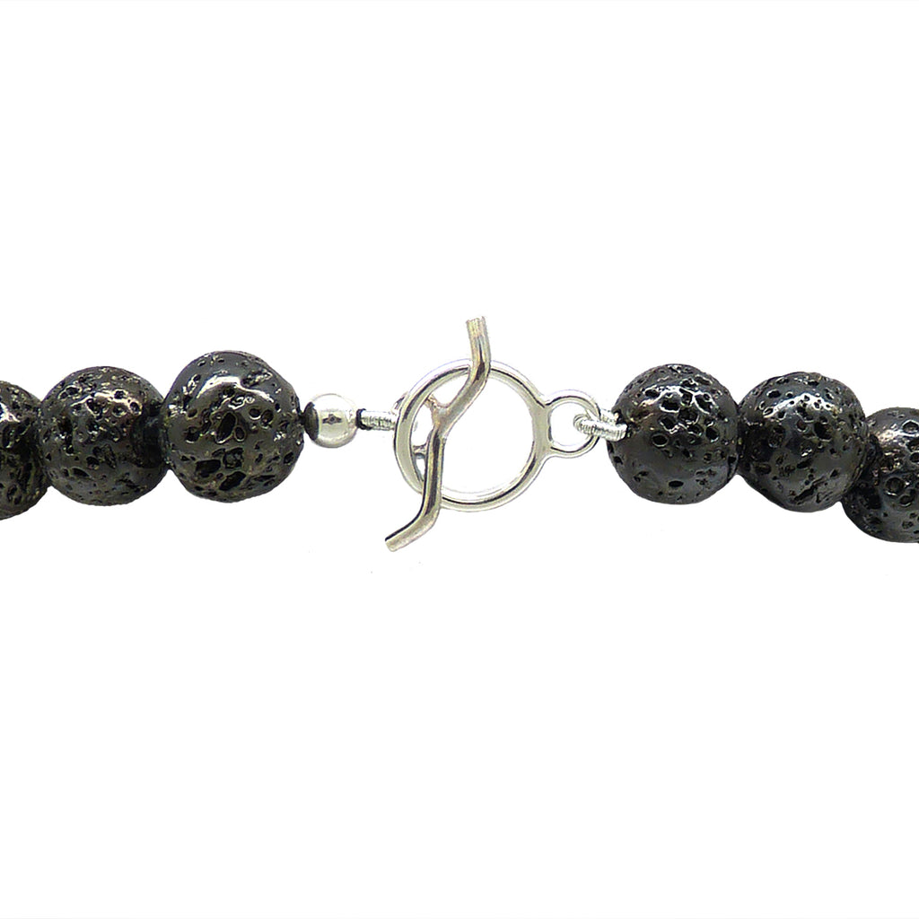 Simon Sebbag Sterling Gunmetal Plated Lava Stretch Bracelet Hammered Silver 925 Bead SSD B128PL - ILoveThatGift