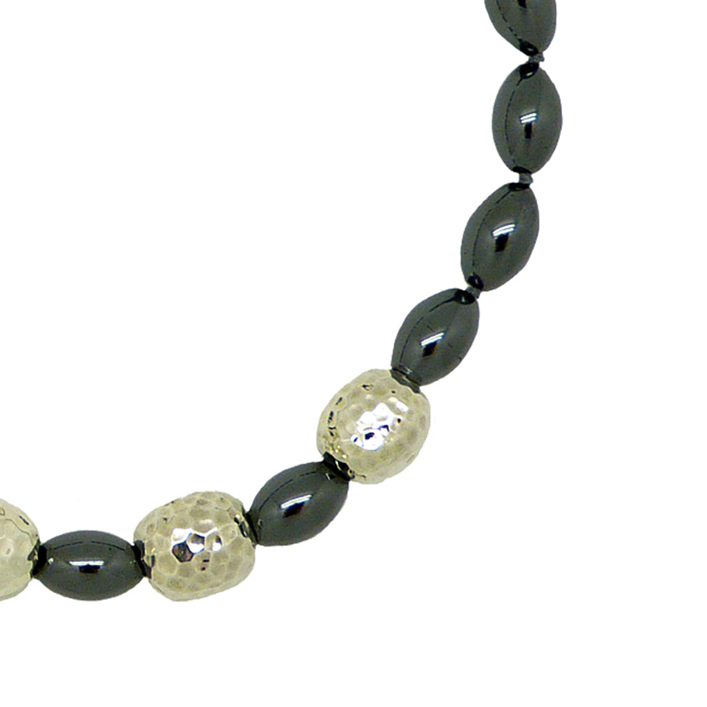 Simon Sebbag Sterling Alternating 4 Hammered Beads Hematite Necklace NB610PH