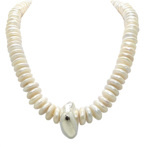 Simon Sebbag Freshwater White Pearl Rondelle Sterling Silver Nugget Necklace NB673WPR