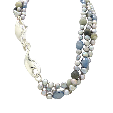 Simon Sebbag 3 Strand Pearl Gray Crystal Jasper Twist Sterling Silver Necklace NB754GPM