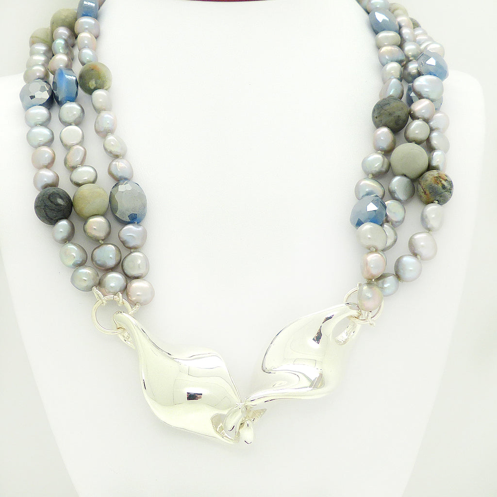 Simon Sebbag 3 Strand Pearl Gray Crystal Jasper Twist Sterling Silver Necklace NB754GPM - ILoveThatGift