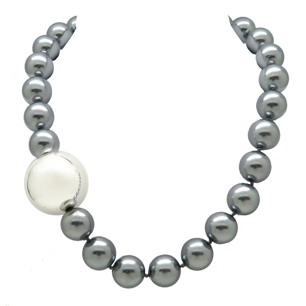 Simon Sebbag Sterling Silver Ball with Gray Shell Bead Stretch Bracelet B101GRYS - ILoveThatGift