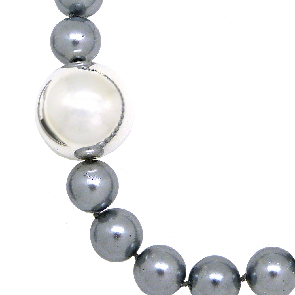 Simon Sebbag Sterling Silver Ball with Gray Shell Bead Necklace 18.5 inches NB760GRYS - ILoveThatGift
