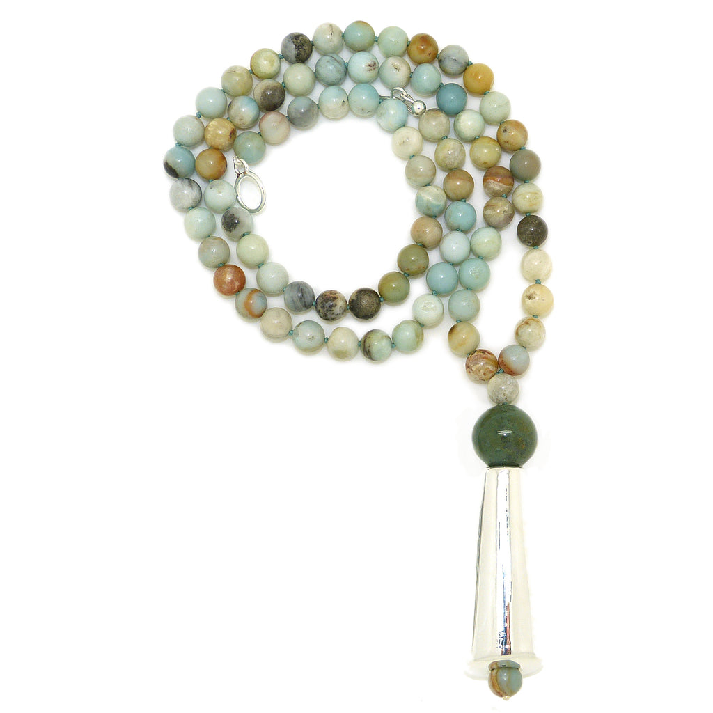 Simon Sebbag Sterling Silver Amazonite Green Beige Long Drop Necklace Pendant NB765AMAZ - ILoveThatGift