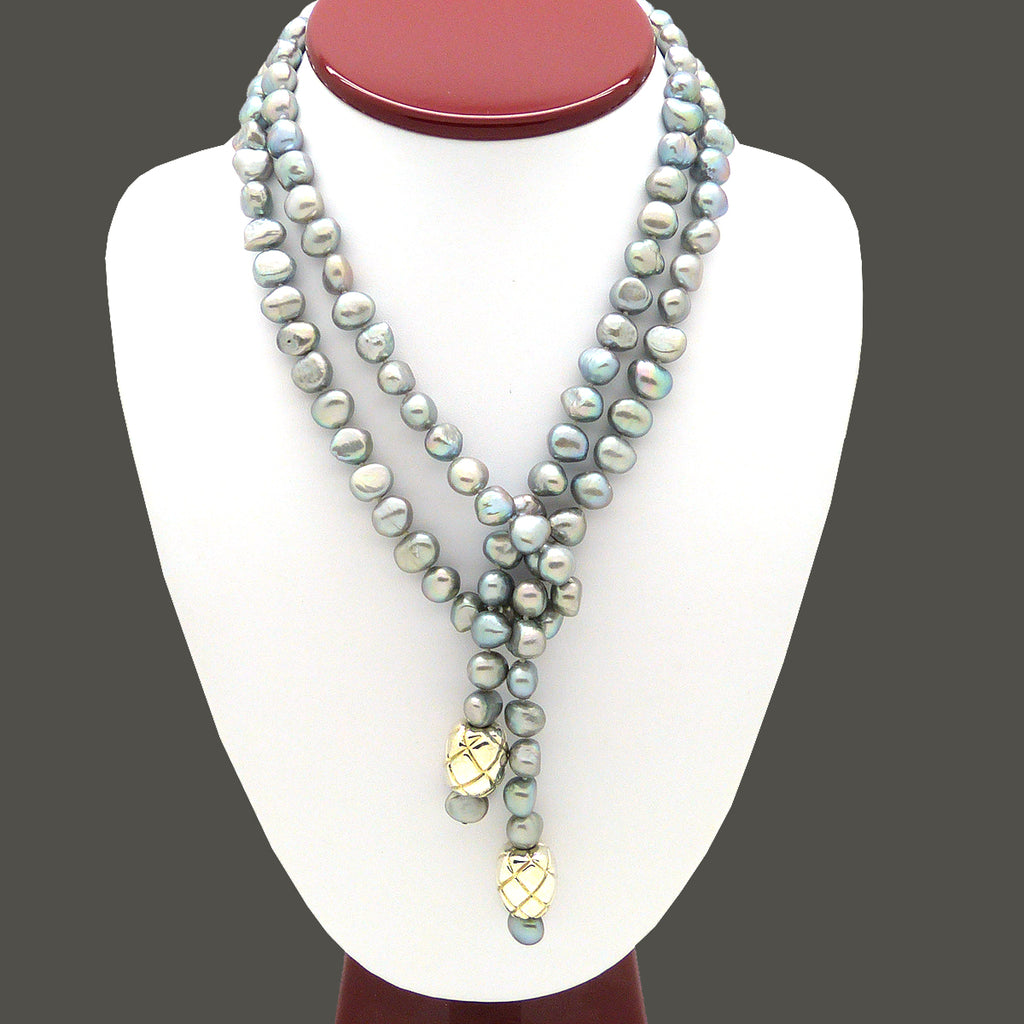 Simon Sebbag Sterling Silver Beads Gray Pearl  Necklace Lariat SS NB771GP
