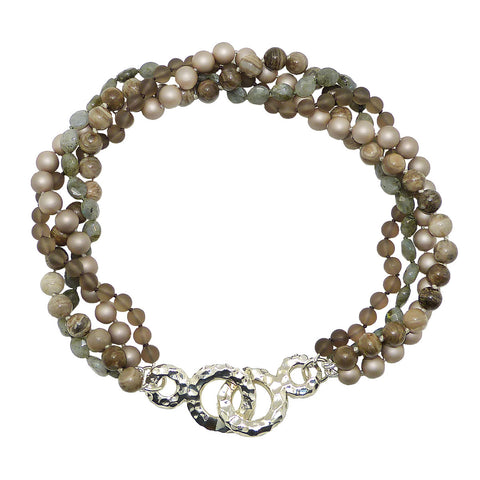 Simon Sebbag Sterling Silver Hammered Closure 4 Strand Taupe Gray Pearl Necklace SS NB792CM4
