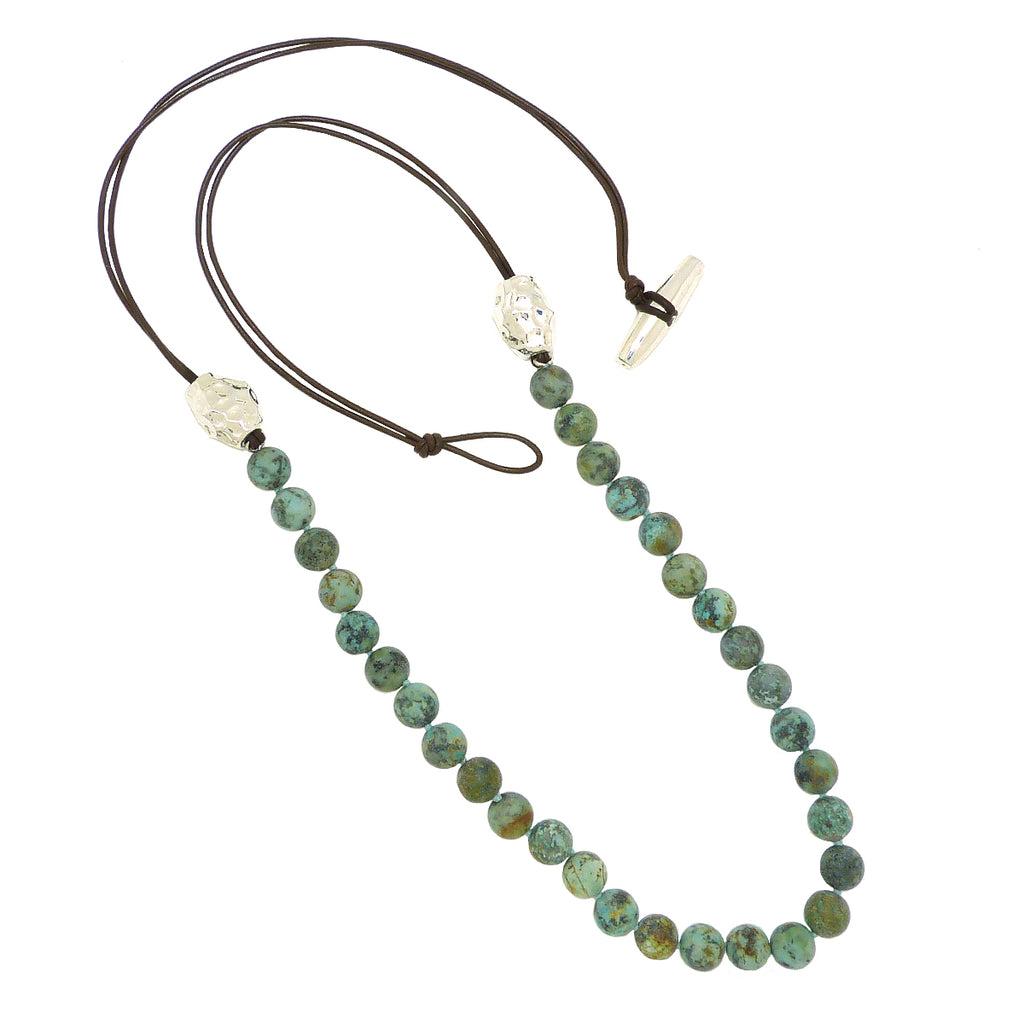 Simon Sebbag Matte African Turquoise Brazilian Bronze Leather Sterling Silver Beads Necklace Lariat NB815MATQB - ILoveThatGift