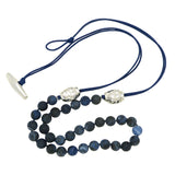 Simon Sebbag Matte Sodalite Bead Ink Blue Leather Sterling Silver Beads Necklace Lariat NB815MSIL - ILoveThatGift