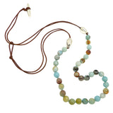 Simon Sebbag Matte Amazonite Bead Green Brown Leather Sterling Silver Beads Necklace Lariat NB816FAMAZ