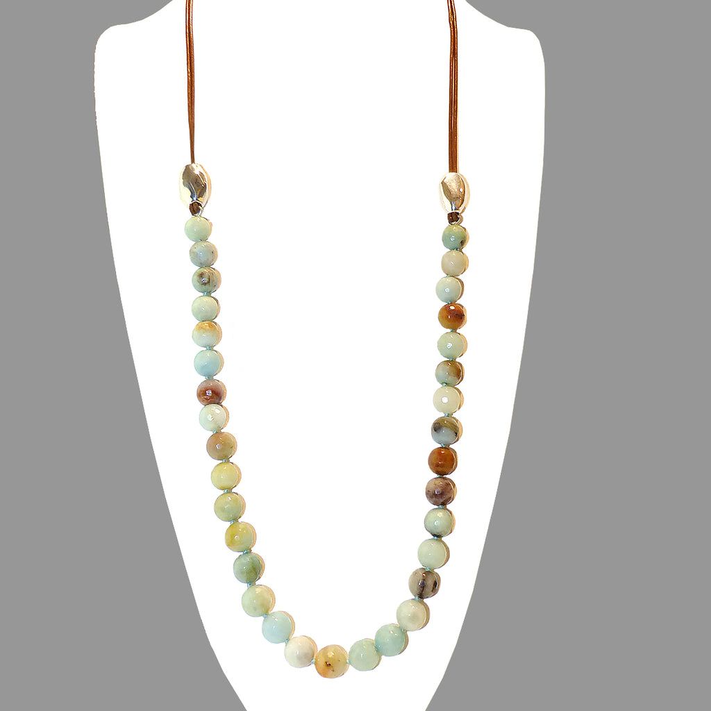 Simon Sebbag Matte Amazonite Bead Green Brown Leather Sterling Silver Beads Necklace Lariat NB816FAMAZ - ILoveThatGift