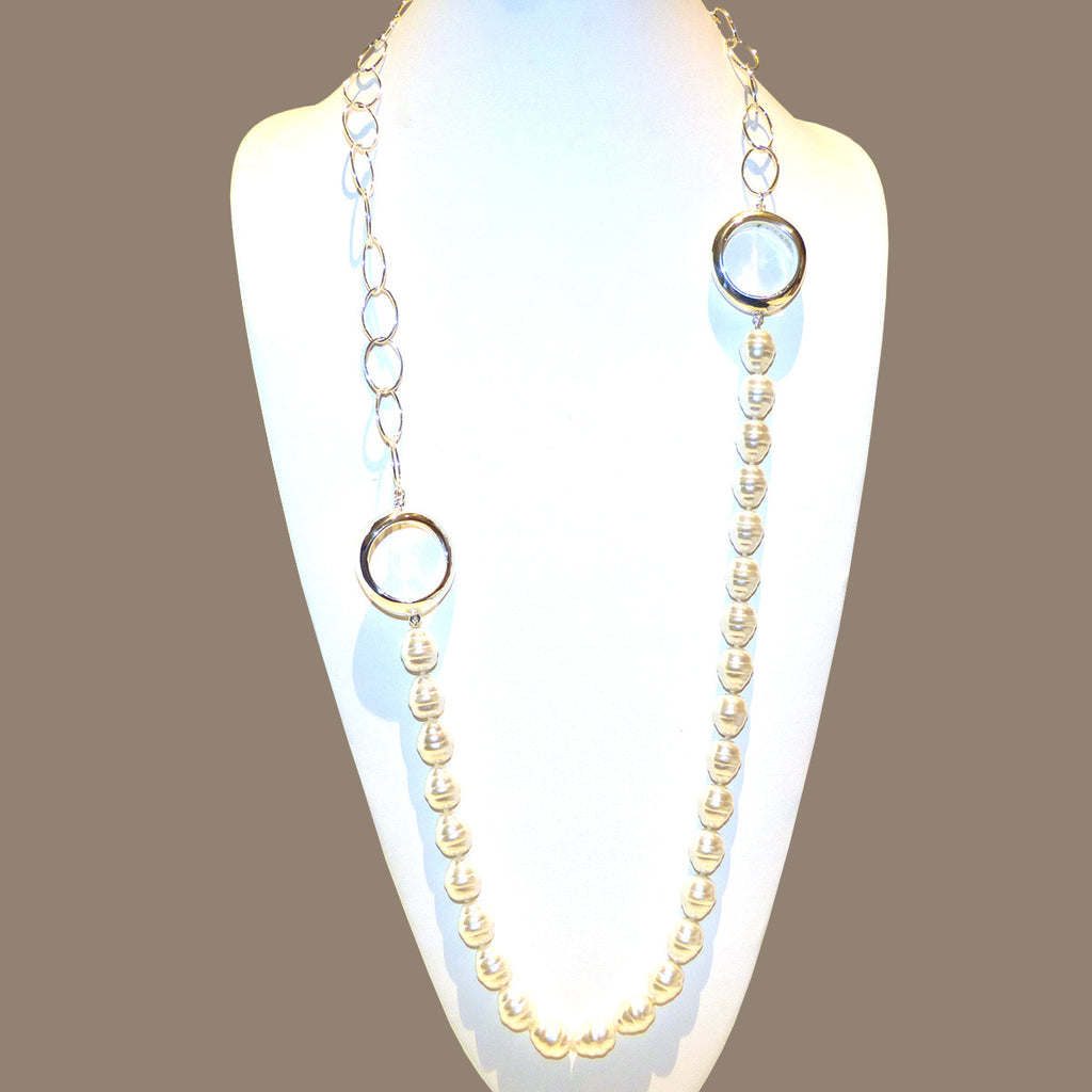 Simon Sebbag Long Small Shell Pearl Chain Necklace Sterling Silver 925 Round Oval NB826SSPCH - ILoveThatGift