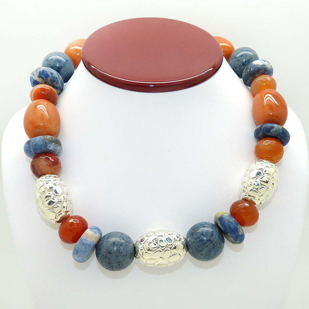 Simon Sebbag Denim Multi Color Stone Necklace Sterling Silver 925 Textured Beads NB833DM - ILoveThatGift