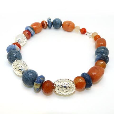 Simon Sebbag Denim Multi Color Stone Necklace Sterling Silver 925 Textured Beads NB833DM