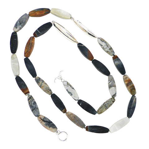 Matte Jasper Sterling Silver Simon Sebbag Barrel Bead Necklace NB854MPBB