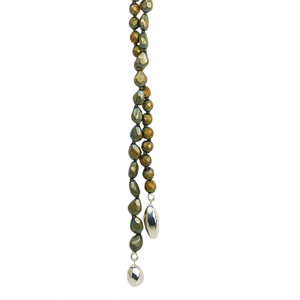 Simon Sebbag Sterling Silver Bead Leather Green Gold Hematite Lariat Necklace NB940GGHS - ILoveThatGift