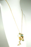 Gold Tone Turqiouse Blue Branch Sand Dollar Sea Shell Starfish Long Dangly Necklace - ILoveThatGift