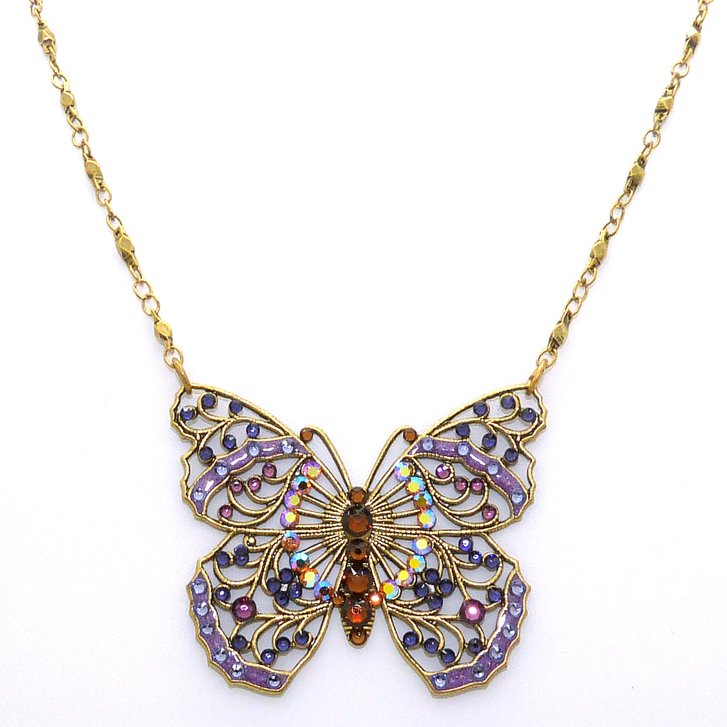 Anne Koplik Large Openwork Purple Butterfly Necklace Swarovski Crystal NK4058PUR - ILoveThatGift