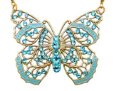 Anne Koplik Large Filigree Enamel Swarovski Crystal Butterfly Necklace NK4579LTU